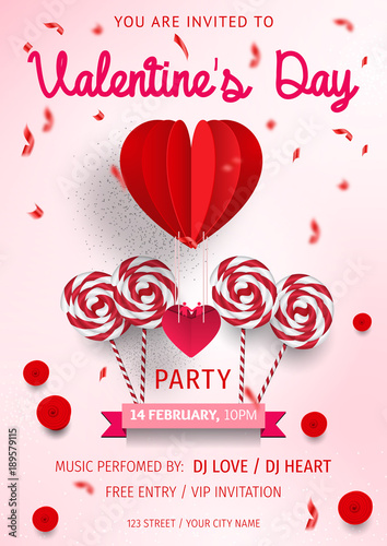 Happy Valentines Day Party Flyer love Invitation card Valentines