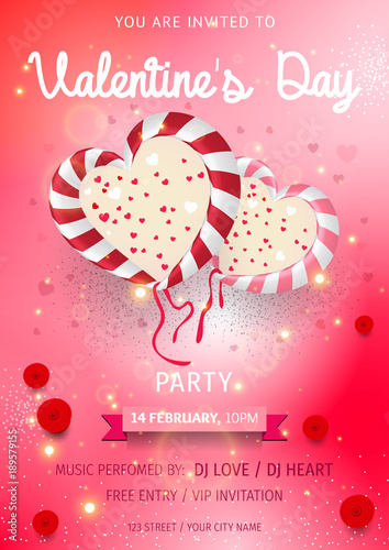 Happy Valentine\'s Day Party Flyer. love Invitation card ...