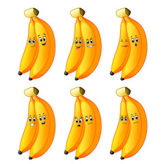Couple banana in different emotions