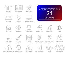 Line icons set. Academic disciplines pack. Vector illustration