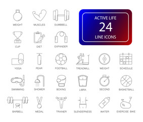 Line icons set. Active Life pack. Vector illustration