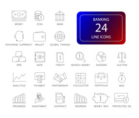 Line icons set. Banking pack. Vector illustration