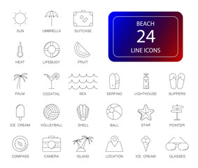 Line icons set. Beach pack. Vector illustration