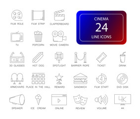 Line icons set. Cinema pack. Vector illustration