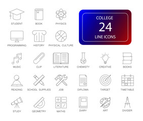 Line icons set. College pack. Vector illustration