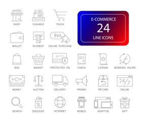 Line icons set. E-commerce pack. Vector illustration