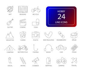 Line icons set. Hobby pack. Vector illustration