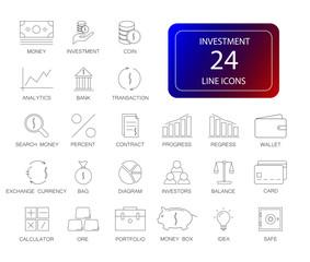 Line icons set. Incestment  pack. Vector illustration