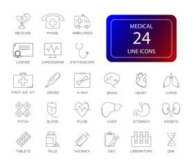 Line icons set. Medical pack. Vector illustration