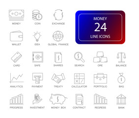 Line icons set. Money pack. Vector illustration
