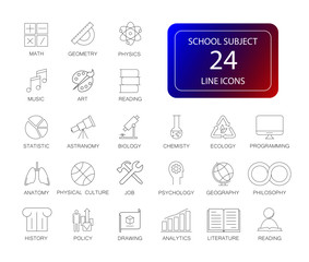 Line icons set. School subject pack. Vector illustration