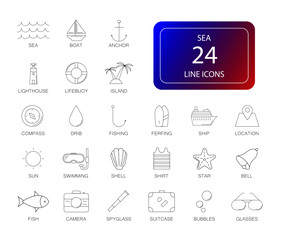 Line icons set. Sea pack. Vector illustration