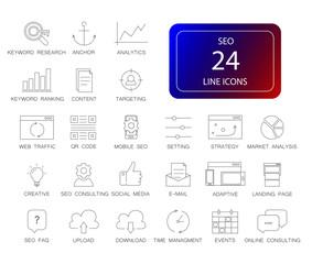 Line icons set. Seo pack. Vector illustration