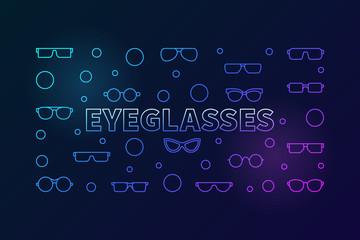 Eyeglasses colored horizontal line illustration. Vector banner
