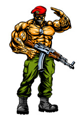 muscular soldier with gun salutes, illustration, art, design, logo, color image