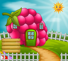 Raspberyy house in garden