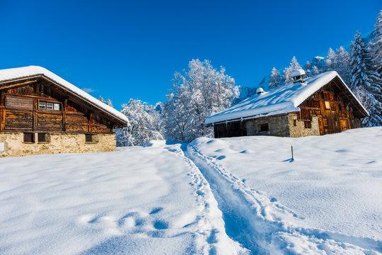 Mountain chalets winter