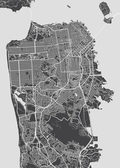San Francisco city plan, detailed vector map