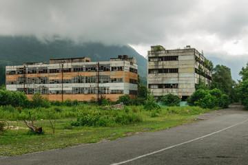 Abandoned buildings in Tkvarcheli, Abkhazia