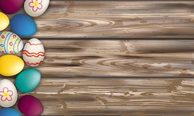 Easter Eggs Worn Wood