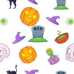 Halloween pattern, cartoon style