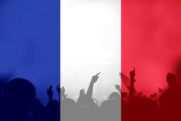 Football fans with blending France flag