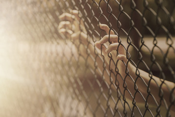 child teen girl hand holding steel cage to child abduction or children imprisoned concept