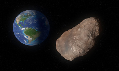 2002 AJ129 asteroid in approach to Earth in February 2018. Artwork 3D concept.