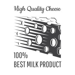 Peace of cheese with holes. Logo for dairy store, site or business