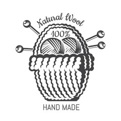 Big bsket with yarn ball knitting needles. Logo for craft related site or business
