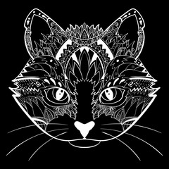 Hand drawn ornate doodle graphic black and white cat face. Vector illustration for t-shirts design, tattoo, and other things
