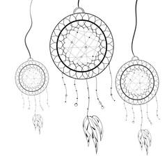 Vector illustration. Ethnic totem Dreamcatcher. Doodle. Tattoo.