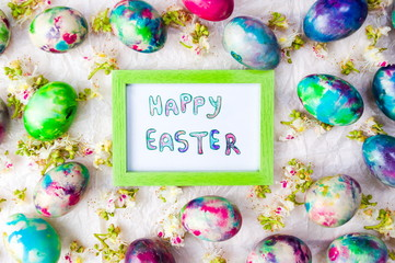 Easter eggs card  spring flowers background