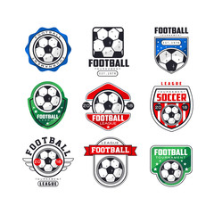 Soccer league logo set. Collection of football tournament emblems decorated with balls, ribbons and stars. Line art flat vector icons
