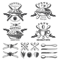 Set of different pies with ribbons. Logo and design elements for bakery, pastry, menu, cafe or business