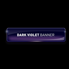 Vector illustration of realistic glass colored banner on black background for your design.