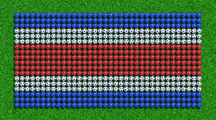 Flag of Costa rica from soccer balls on grass field. 3D render.