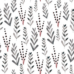 Seamless floral pattern with watercolor branches .Perfect for fabric,textile.Vector background