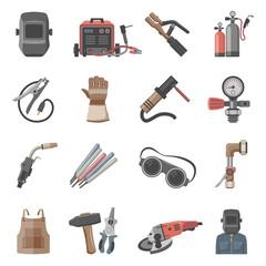 Welding equipment icon set