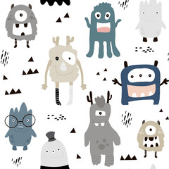 Childish seamless pattern with cute boys monsters. Trendy scandinavian vector background. Perfect for kids apparel,fabric, textile, nursery decoration,wrapping paper
