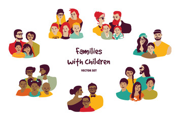 Happy families parents with children isolated groups set.