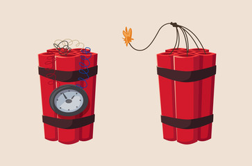 TNT time bomb with clock. Cartoon vector illustration