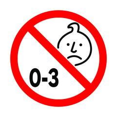 Not suitable for children under 3 years choking hazard forbidden sign sticker isolated on white background vector illustration