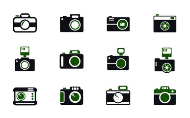 camera simple vector icons in two colors