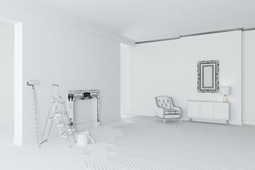 3d blank white interior room