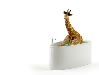 Giraffe in der Badewanne