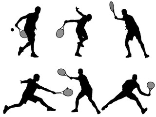 set of Tenis player silhouette