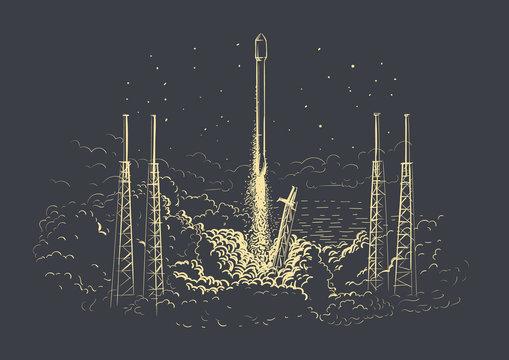 Rocket launching hand drawn illustration on dark background. Vector.