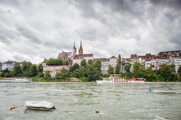 View of the River Rhine and the cathedral in the city of Basel. Switzerland.