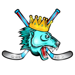 Beast bear face from the side view with hockey puck, crown and crossed stick. Logo for any sport team polarbear isolated on white